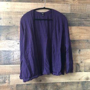 Talbots Dark Purple Open Button Front Cardigan